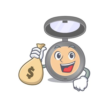 Crazy rich Cartoon picture of highlighter having money bags. Vector illustration