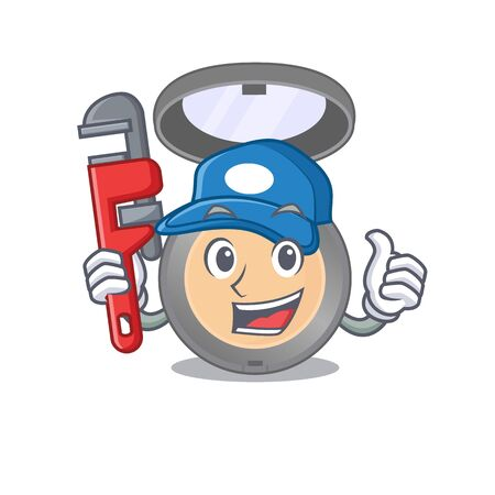 cartoon mascot design of highlighter as a Plumber with tool. Vector illustration