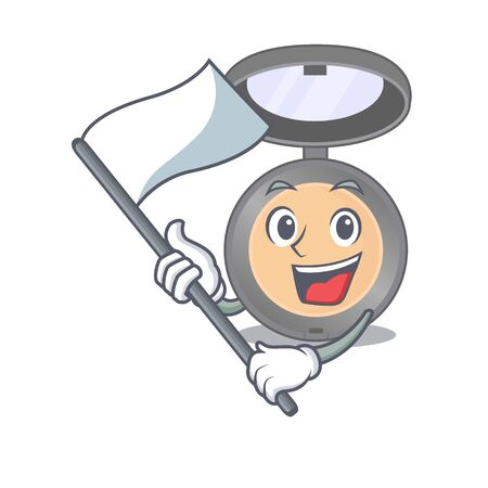 A brave highlighter mascot character design holding a white flag. Vector illustration