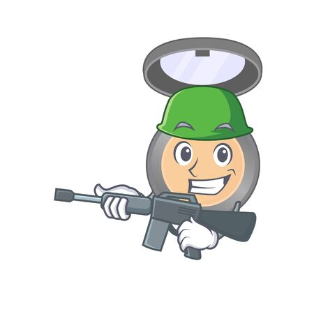 A charming army highlighter cartoon picture style having a machine gun Иллюстрация