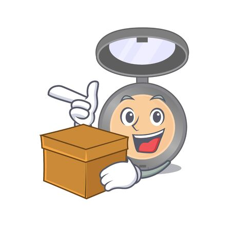 A smiling highlighter cartoon mascot style having a box