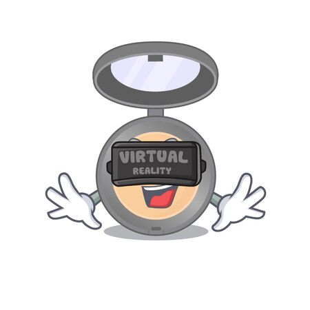Highlighter cartoon image play a game with Virtual Reality headset. Vector illustration