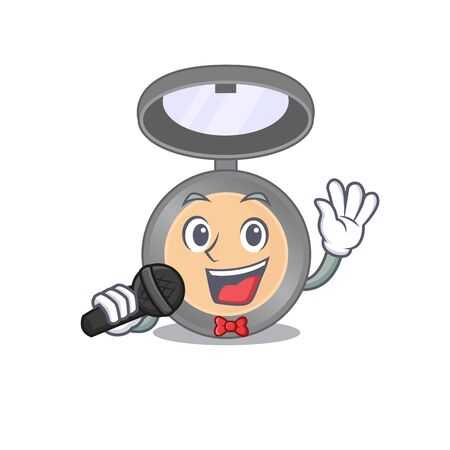 caricature character of highlighter happy singing with a microphone. Vector illustration