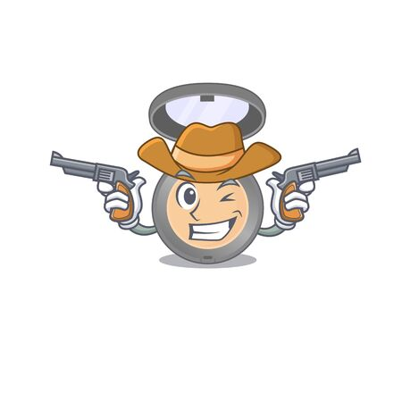 A wise cowboy of highlighter Cartoon design with guns. Vector illustration