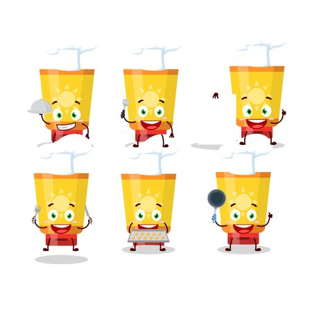 Cartoon character of sun block with various chef emoticons.Vector illustration 向量圖像