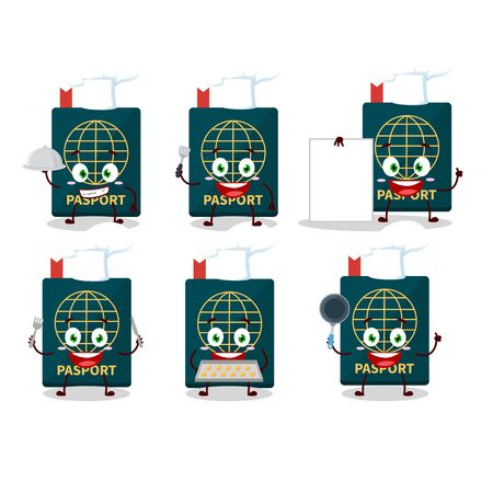 Cartoon character of passport with various chef emoticons. Vector illustration