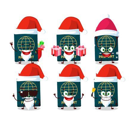 Santa Claus emoticons with passport cartoon character. Vector illustration 向量圖像
