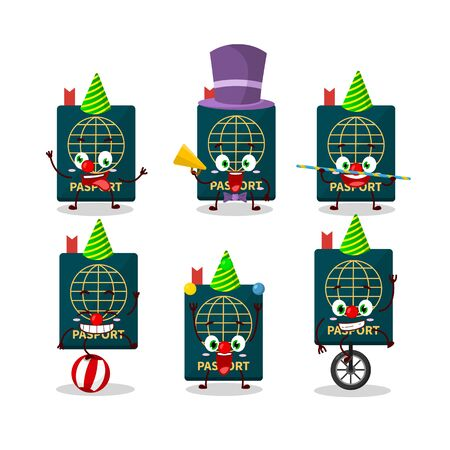 Cartoon character of passport with various circus shows. Vector illustration