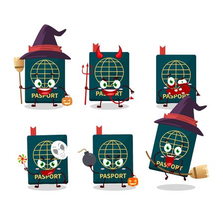 Halloween expression emoticons with cartoon character of passport. Vector illustration