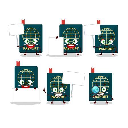 Passport cartoon in character bring information board. Vector illustration