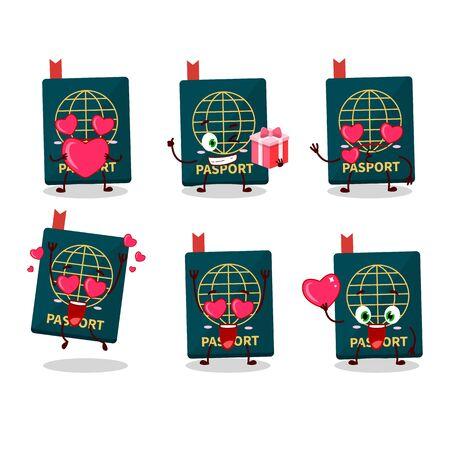 Passport cartoon character with love cute emoticon. Vector illustration 向量圖像