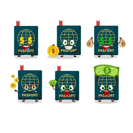 Passport cartoon character with cute emoticon bring money. Vector illustration 向量圖像