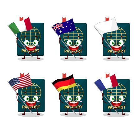 Passport cartoon character bring the flags of various countries. Vector illustration 向量圖像