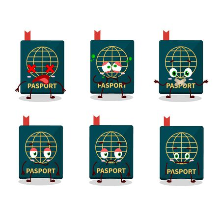 Passport cartoon in character with nope expression. Vector illustration