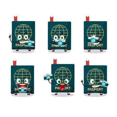 Photographer profession emoticon with passport cartoon character. Vector illustration