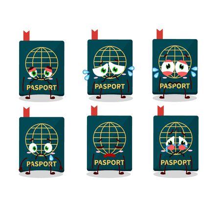Passport cartoon iin character with sad expression. Vector illustration