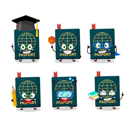 School student of passport cartoon character with various expressions. Vector illustration