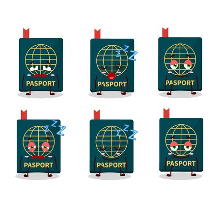 Cartoon character of passport with sleepy expression. Vector illustration