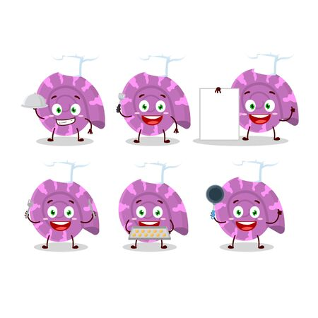 Cartoon character of purple clam with various chef emoticons. Vector illustration