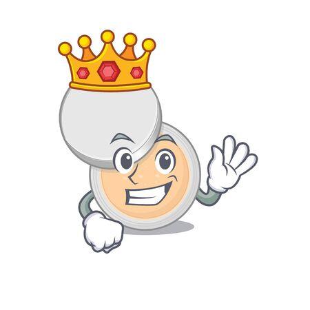 A humble King of jar powder makeup caricature design style with gold crown. Vector illustration Ilustração