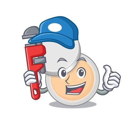 cartoon mascot design of jar powder makeup as a Plumber with tool. Vector illustration
