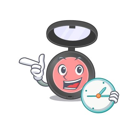A picture of cheery pink blusher holding a clock. Vector illustration