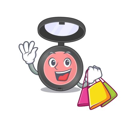 Pink blusher wealthy cartoon character concept with shopping bags. Vector illustration