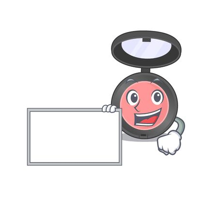 Cartoon character style of pink blusher holding a white board. Vector illustration