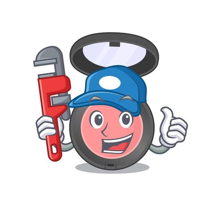 cartoon mascot design of pink blusher as a Plumber with tool. Vector illustration