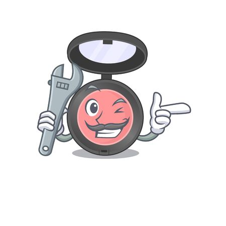 A caricature design concept of pink blusher working as a mechanic. Vector illustration