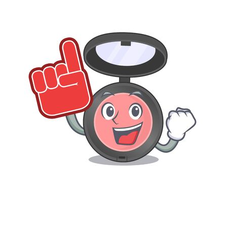 Pink blusher in cartoon picture design with Foam finger. Vector illustration