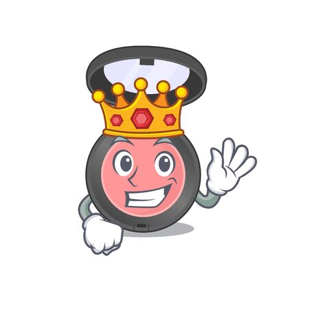 A humble King of pink blusher caricature design style with gold crown. Vector illustration