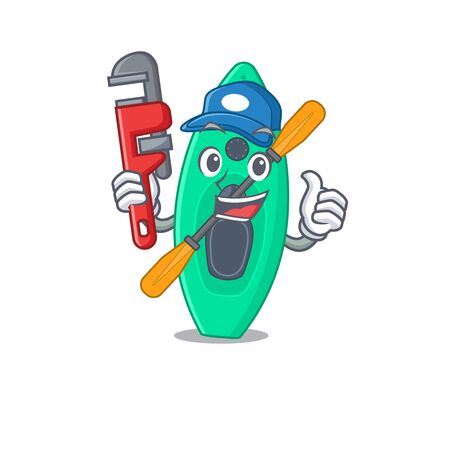 cartoon mascot design of canoe as a Plumber with tool Stock Illustratie