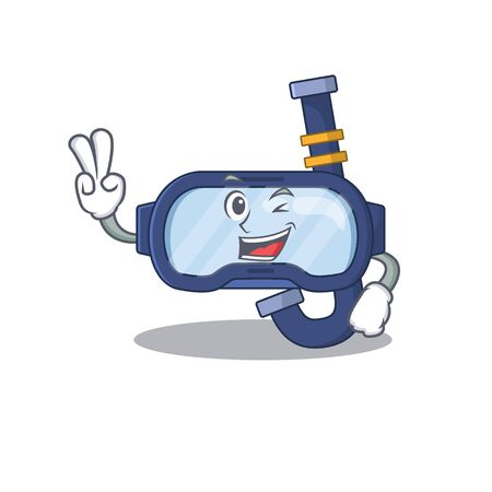 A joyful dive glasses cartoon mascot style show two fingers pose. Vector illustration