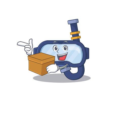 A smiling dive glasses cartoon mascot style having a box. Vector illustration Ilustração