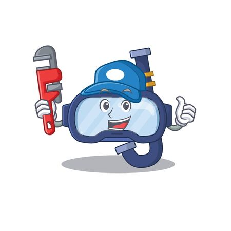 cartoon mascot design of dive glasses as a Plumber with tool. Vector illustration