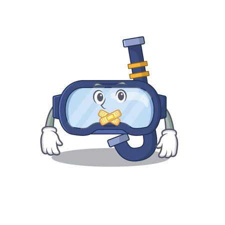 Dive glasses cartoon character style having strange silent face. Vector illustration Ilustração