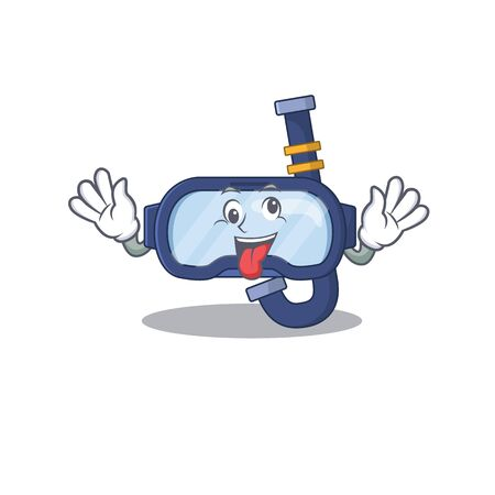A mascot design of dive glasses having a funny crazy face. Vector illustration Ilustrace
