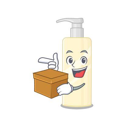 A smiling hair mask cartoon mascot style having a box. Vector illustration