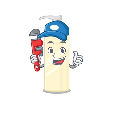 cartoon mascot design of hair mask as a Plumber with tool. Vector illustration