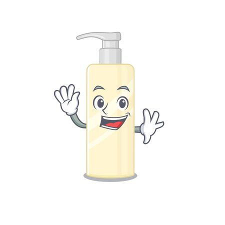 A charismatic hair mask mascot design concept smiling and waving hand. Vector illustration Banco de Imagens - 150069483