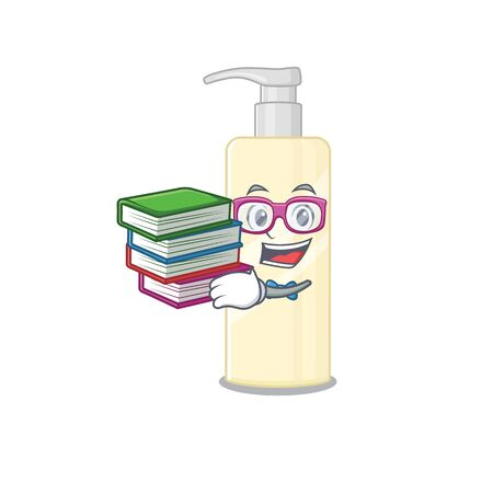 Hair mask student mascot design read many books when study at home. Vector illustration Çizim
