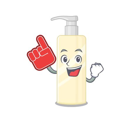 Hair mask in cartoon picture design with Foam finger. Vector illustration Çizim