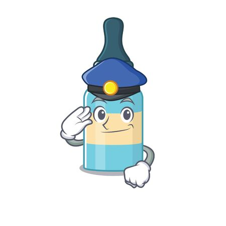 A handsome Police officer cartoon picture of hair oil with a blue hat. Vector illustration