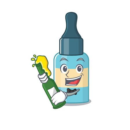 A caricature design style of hair oil cheers with a bottle of wine. Vector illustration