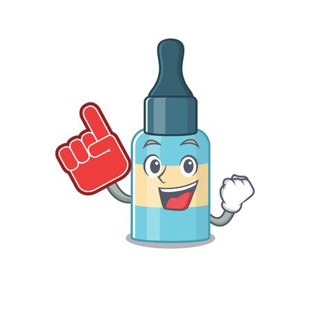 Hair oil in cartoon picture design with Foam finger. Vector illustration