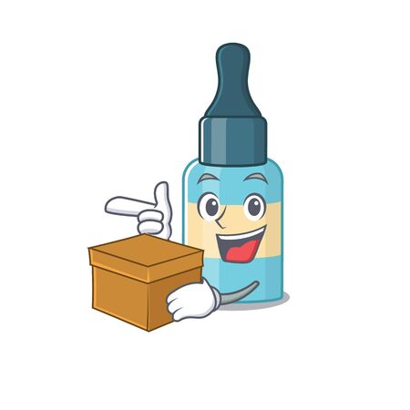A smiling hair oil cartoon mascot style having a box. Vector illustration