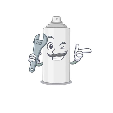 A caricature design concept of hair spray working as a mechanic. Vector illustration