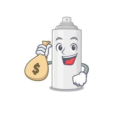 Crazy rich Cartoon picture of hair spray having money bags. Vector illustration