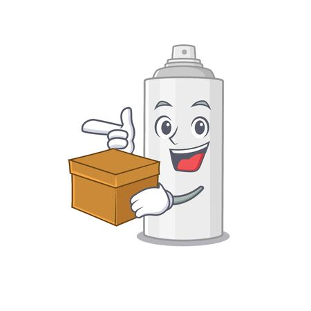 A smiling hair spray cartoon mascot style having a box. Vector illustration
